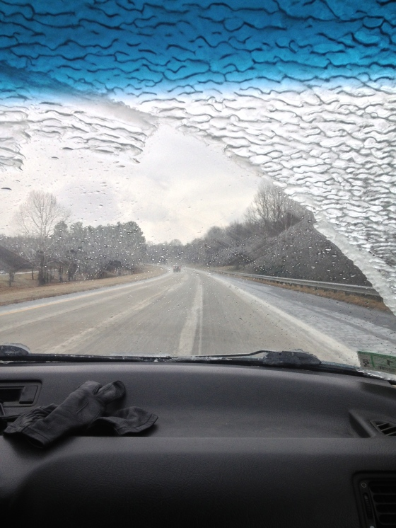Ice built up on the windshield.