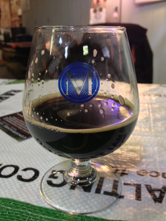 We got these great little snifter glasses too! This is Six Impossible Things, a chocolate coffee breakfast stout.