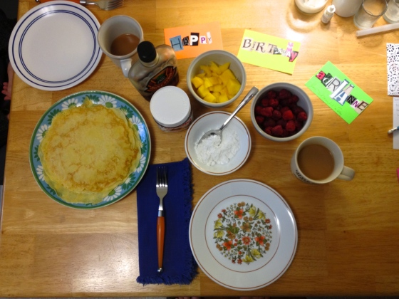 Crepe-tastic bday bfast by Scott!