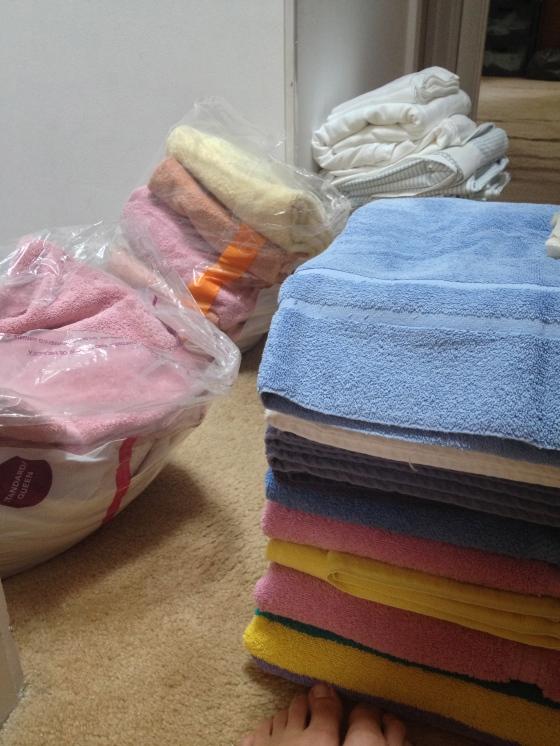 Sorting linens.